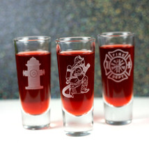 Engraved Shooter Shot Glasses with Firefighter Gift Set (Set of 3)