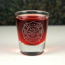 Engraved Whiskey Shot Glass with Firefighter Maltese Cross Design