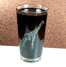 Pint Glass Engraved with Giraffe