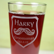 Personalized Pint Glass Engraved Groomsmen Best Man Mustache Shield Design