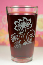 Engraved Lotus Henna Flower Duo with swirls Etched Pint Glass