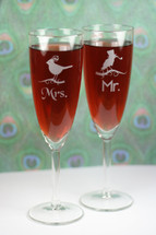 Engraved Tapered Champagne Flutes Sandblasted with Mr & Mrs Birds (Set of 2)