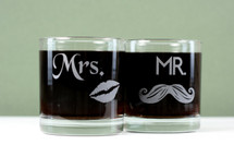 Engraved Mr and Mrs lips and Mustache Rocks Glasses (Set of 2)