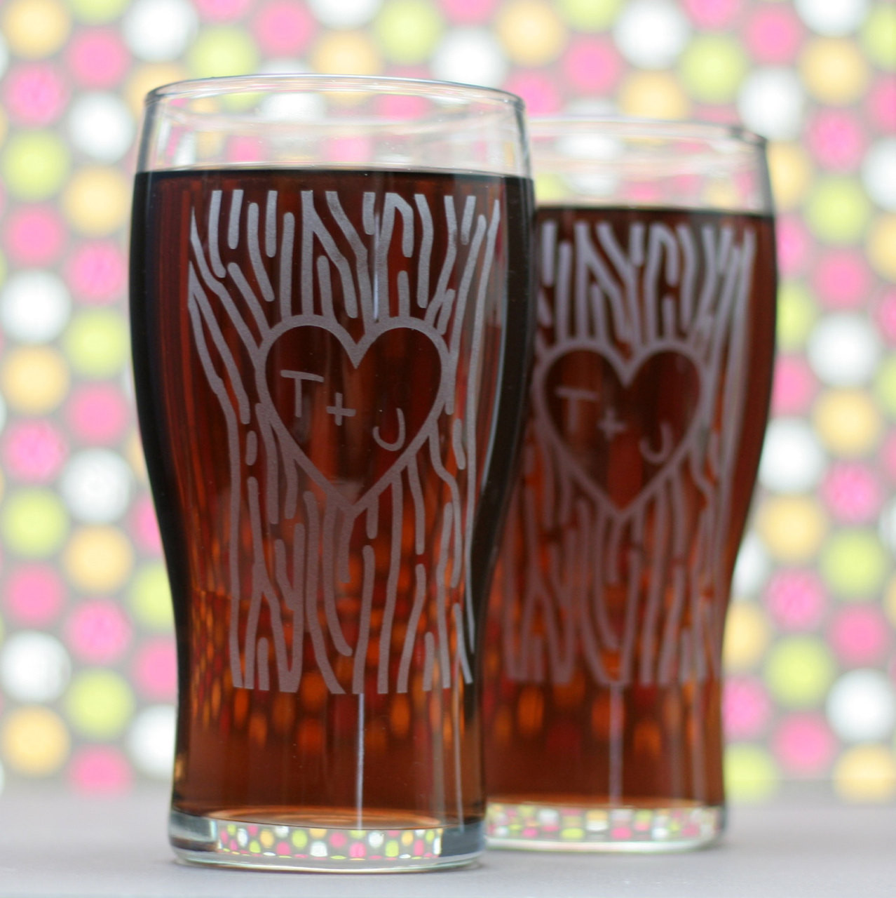 custom engraved newlywed gift pilsner glass set with heart