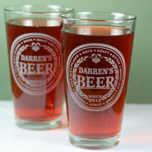 Engraved Pint Glasses with Personalized Beer Names Design (Set of 2)