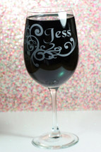 Personalized Engraved Wine Glass with Swirl Design