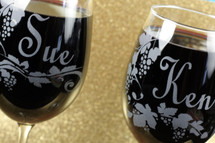 Wine Glasses Engraved and Personalized with Wine Name Theme