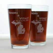 Engraved Pint Glasses with State Love Newlywed Gift (Set of 2)