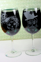 Engraved Set of Wine Glasses with Sugar Skull Couple (Stemmed or Stemless)