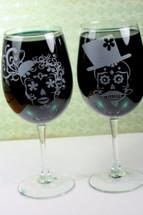 Engraved Set of Wine Glasses with Sugar Skull Couple (Stemmed or Stemless)