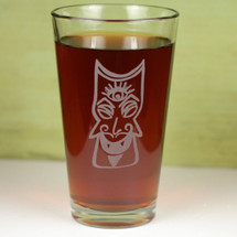 Engraved Third Eye Tiki Etched Sandblasted Pint Glass