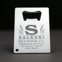 Personalized Engraved Home Brew Bottle opener with Large Initial in Wheat Design