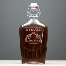 Engraved Glass Flask Personalized with Double Revolver Groomsmen Design
