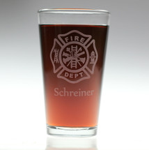 Personalized Firefighting Maltese Cross Engraved Pint Glass