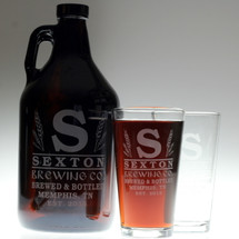 Large Initial & Wheat Personalized 64oz Growler & 2 glass set