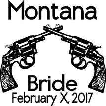 Custom listing for Montana - 6 whiskey shots with double gun art and brixton font