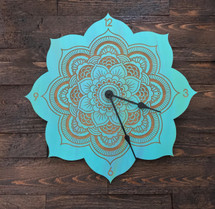 Wood Mandala Clock Laser Engraved - Custom Colored