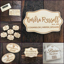 Name Tag Laser Engraved on Wood - Your logo or Custom art with your name