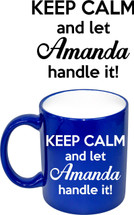 Custom listing for Brooke - PINK coffee mug with Amanda art