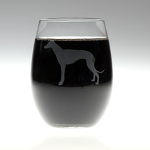 Greyhound Dog Engraved Wine Glass