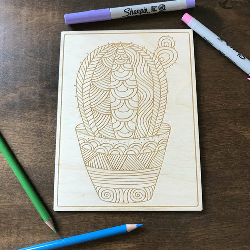 Single Cacti in pot wood coloring panel
