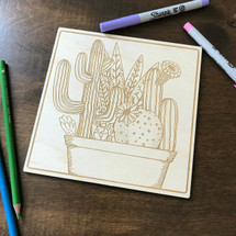 Multiple Cactus in pot wood coloring panel