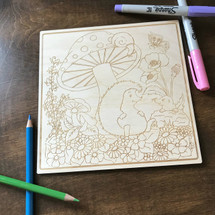 The Mushroom and the Hedgehog wood coloring panel