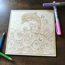 Dolphin Diving wood coloring panel