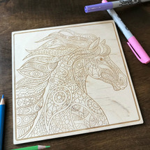 Horse Patterns wood coloring panel