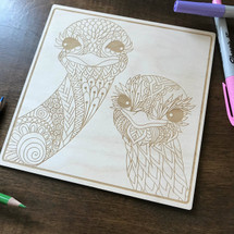 Ostrich Couple wood coloring panel