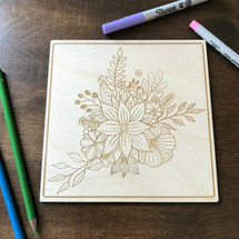 A Simple Bouquet wood coloring panel