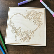 Love Birds wood coloring panel