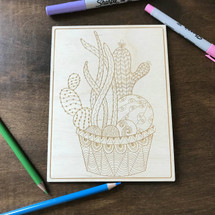 Multi-cactus in pot 2 wood coloring panel