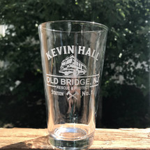 Personalized Fire Truck and axes Engraved Pint Glass