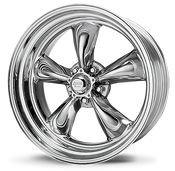 """American Racing Hot Rod Torq Thrust II Polished The American Racing Authentic Hot Rod Wheel Collection is the icon of American hot rod and muscle car enthusiasts. In the late fifties, American Racing introduced the original magnesium five-spoke American Racing® Torq Thrust®. With its unique, tapered parabolic spoke design, it is considered by many to be the most famous wheel of all time and was only recently named by Hot Rod magazine as one of twenty speed parts that changed the world (Hot Rod, November 2004). Those five-spoked American """"mags,"""" admired by so many on the drag strip, quickly made the conversion from strip to street, kicking off the custom wheel craze. Now, 50 years after American Racing was founded, the American car culture and the passion that drives it continues, attracting new generations of hot rodders, vintage enthusiasts, and muscle maniacs. With the same passion that started in that small machine shop in San Francisco fifty years ago, American Racing's commitment to genuine, authentic hot rod wheels continues. With this commitment in mind, American's Torq Thrust II and Hopster wheels were custom-designed to feature period correctness, functional backspacing requirements with custom sizes and modern engineering standards. As the Official Wheel of the Hot Rod Magazine PowerTour, Don Schumacher Racing, California Speedway and many other events, you'll see American Racing wheels at every show or just around town, cruisin'.  Finish your muscle car or truck with these wheels - it harkens to the past while updating the look of your vehicle.  Specs:  20 x 8.5 BS: +5.00/+5.2  20 x 10.0 BS: +5.5/+6.00"""