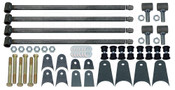 """(4) 1.25"""" TIG WELDED LINK BARS, 32"""" LONG (WHICH CAN BE CUT DOWN) (4) WELD-IN THREADED INSERTS (4) ADJUSTABLE THREADED ROD ENDS (TIG WELDED) (8) 1.5"""" URETHANE BUSHING SETS (8) BUSHING SLEEVES (6) PAIRS OF MOUNTING TABS (1) HARDWARE PACK (6) 9/16 Bolts (6) Locknuts (12) Washers"""