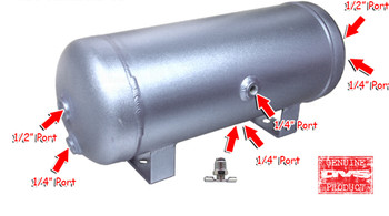 """3-gallon aluminum tank with 6 ports, drain port and 200 PSI Gauge.  Approximately 18"""" x 7"""" with (4) 1/4"""" ports and (2) 1/2"""" ports."""