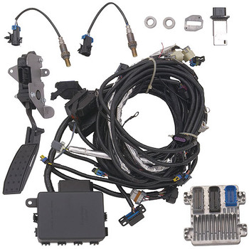 This calibrated controller kit from Chevrolet Performance enables quicker and easier adaptation of the Chevrolet Performance LS7 Crate Engine for countless hot rod projects. It is specially programmed for retrofit installations, with features that make getting the vehicle running easier than if a production controller were used. The kit also includes hardware and components that does not typically come with a used or salvage yard engine, such as the wiring harness, mass airflow meter and electronic throttle pedal assembly, eliminating the need to source them separately! This controller system is a true stand-alone system for use in older vehicles, as all that's needed to get a vehicle running with it are power and ground sources, a 58-psi (400 kPa) fuel pump and an electric cooling fan.  Features: Two oxygen sensors Two oxygen sensor mounting bosses (for installation in the exhaust system) Mass airflow meter Mass airflow meter mounting boss (for installation in the air intake system) Throttle pedal assembly (for use with the electronically operated throttle) Engine wiring harness Programmed controller Instruction sheet Max RPM: 7100 12-month/12,000-mile warranty