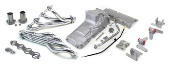 Hello LSx Guys! Finally! A way to get your K10 or K20 LS swapped AND on the road!  This swap kit is for 1964-1972 GM ½ ton 4 wheel drive Trucks, Blazers & Suburbans. Unlike most LS swap parts on the market this kit replaces the frame brackets in addition to the mounts so you'll have clean mounting of your engine and not a mix of parts that are weak and don't work together properly. The frame brackets bolt into existing holes in the frame and locates the engine to give you the most options for front accessories drives. Unlike others, our kit positions the engine so there is no steering interference and maintains the proper drive-line angle for smooth highway cruising. It provides clearance for the factory AC box, power brake booster, and aftermarket suspension components. These combined parts offer an easy, strong, and clean installation of your LS engine. If you are considering upgrading to newer transmissions (4L60E/4L80E), our kit will work with the NP241, NP243 and NP246 transfer cases.  This kit includes the following:   4WD Motor Mounts, Headers, Oil Pan Kit