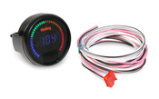 """2-1/16"""" diameter gauges designed specifically for use with the Avenger, HP and Dominator EFI systems. They feature a blue numeric LED display as well as a 40 segment multi-color LED bar around the outside of the gauge. Require power and ground but are wired to a single wire output from the ECU for simple wiring. Can be connected to the vehicle headlight switch to allow dimming for better night time viewing. Each gauge can easily be individually programmed for a specific function and operation eliminating the need for other gauges and expensive dedicated sending units (battery voltage, coolant temp, oil pressure, fuel pressure, nitrous pressure, RPM, air/fuel ratio etc.). A """"decal sheet"""" is provided with the most common inputs used so the gauges can be correctly labeled."""