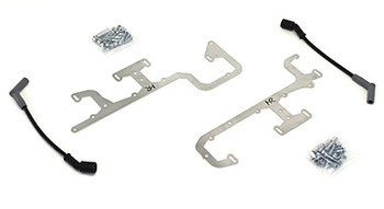 """Our Coil Relocation Kit alleviates the problem of the rear coils hitting the power brake booster or air conditioning box when swapping the LS engines into early vehicles. The relocation brackets are laser cut from brushed stainless steel for a great clean appearance. It relocates the rear coil upwards to provide adequate clearance for power brake boosters and air conditioning. Each kit includes all necessary hardware along with one of our 12"""" high performance spark plug wires. Installation is easy, the brackets bolt to the valve cover using existing mounting holes on factory valve covers (as well as most aftermarket valve covers)."""