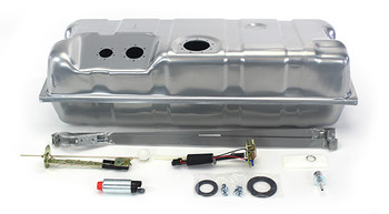Now you can get rid of that old rusty, nasty tank! These conversion fuel tanks are built to fit your application, and are setup to provide the minimum 58 PSI required specifically by the LSx engines. These tanks are made specifically for your car, and feature a recessed area in the top for the fuel pump module and sending unit, so no floor modifications are needed for clearance. Additionally, they have an innovative baffling system inside to control fuel slosh and keep the pump fed even at low fuel levels and extreme driving conditions. They are galvanized steel and powder coated silver for maximum durability!  As an added bonus, the kit includes a fuel sending unit designed to work with your factory style fuel gauge. The included fuel pump module features an in-tank wiring harness and three ports - one for the feed line, one for the return line, and one for the vent.  This kit has two available Walbro fuel pump options. The standard 255 LPH pump or the 400 LPH pump for supercharged or 550+hp applications. The kit also includes vent filter, gaskets, and hardware. The 1961-64 tanks also include new tank straps. They look like original equipment from under the car and are absolutely the best way to go when converting to EFI.