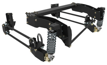 Bolt-On Parallel 4-Link Coil-Over Suspension for 1963-1972 Chevrolet C10 Pickups - Includes: bolt-on or weld-in axle brackets, panhard bar locater, factory-valved coil-over shocks, and coil-springs. Options: Watts link for 10- or 12-bolt rearend, single- or double-adjustable coil-over shocks, and choice of spring rate based on vehicle load (Light - 175 lb/in, Baseline - 200 lb/in, Heavy - 250 lb/in).
