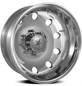 Front Wheel Diameter (in): 19.5 in. Front Wheel Width (in): 6.750 in. Front Wheel Offset: +141.20mm Front Wheel Backspacing (in): 10.330 in. Front Wheel Material: Aluminum Front Wheel Primary Color: Polished Front Wheel Finish: Polished Rear Wheel Diameter (in): 19.5 in. Rear Wheel Width (in): 6.750 in. Rear Wheel Material: Aluminum/Steel Rear Wheel Primary Color: Polished Rear Wheel Finish: Polished Wheel Construction: 1-piece Front Wheel Beadlock Included: No Front Wheel Beadlock Functional: No Rear Wheel Beadlock Included: No Rear Wheel Beadlock Functional: No Lug Nuts Included: Yes Lug Nut Seat Style: Conical seat - 60 degree Wheel Adapter Included: No Center Cap Included: Yes Valve Stems Included: Yes Valve Stem Material: Aluminum Valve Stem Finish: Polished Quantity: Sold as a set of 6. Notes: Each kit contains two aluminum front wheels, two aluminum rear wheels, and two steel rear wheels. The outer rear wheel is made from aluminum while the inner rear wheel is made from steel and is black powdercoated.