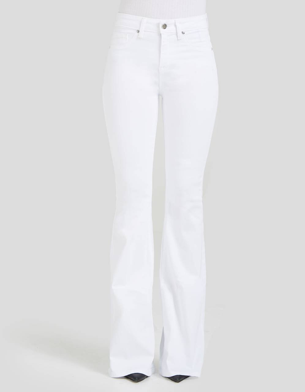 HIGH WAIST SLIM FLARE - Hepburn in White