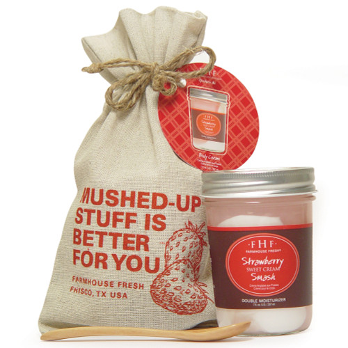 Strawberry Smash Double Moisturizer 7 oz. glass jar Includes jute tote and wooden spoon