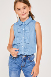 Girls Button-Down Bow Top