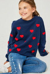 Girls Knitted Hearts Sweater