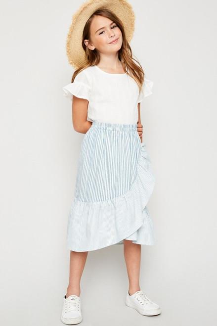 Girls Asymmetrical Stripe Wrap Skirt