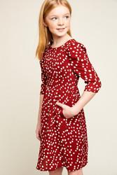 Girls Retro Polka Dot Midi Dress